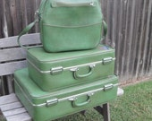 Vintage Luggage Set by Invicta in Forest Green