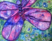 Butterfly Goddess, lavender and turquoise canvas Watercolor Painting art 20x20 Summer Bugs