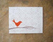 Orange Accent Damask Bird Painting - 11x14 Acrylic Canvas Painting - 202designs