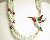 Ruby Throated Humming Bird and Pearls Necklace