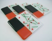 Fused Glass Coasters - Green Orange Confetti