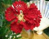 Handcrafted Crochet Rich Red Ruffle Flower Earrings