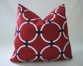 Free US Shipping--Decorative Designer Outdoor Pillow Cover-Chained Circles In Red And White-18 inch