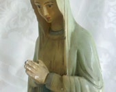 Early 1900s Vintage European Notre Dame de Lourdes Statue Tall and Slender Large