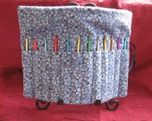 Crochet Hook Organizer/ Holder - Holds 12 Needles - Blue Floral - Keeps all your needles together