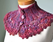Darkred and purple crochet collar capelet - Berniolie