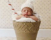 Baby Hat - Extra Whipped Cream, With a Cherry On Top  -  Many Sizes - Preemie, Newborn, Infant