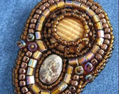 WOOD and STONE Bead Embroidered Pendant