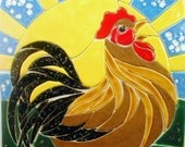 Mosaic tile backsplash - Handmade rooster ceramic mosaic tiles - kitchen, bathroom backsplash