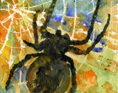 "Spider Art, Modern Abstract Contemporary Watercolor Painting on Canvas, ""Oh what a tangled Web We Weave"" 8x8in"