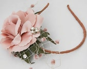 Headband Rose fascinator in dusty pink with vintage accents, headband for weddings