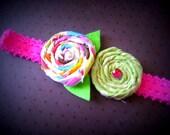 Винтаж Ткань Розетка Цветы на Fuscia эластичного кружева оголовье
