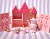 Pretty Pink Princess Tea Pot and Matching Earrings Jewelry Set Comes with Castle