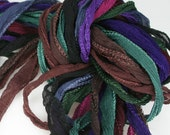 10 ea Deep Tones of Fairy Ribbon Hand Dyed Necklace Cord Silk Neck Cord - TandZSupplies