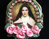 Saint Therese of Lisieux Catholic Art Necklace Earrings Set Polymer Clay Roses