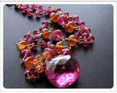 Hot Pink Topaz Sapphire Mandarin Garnet and Gold Filled Necklace - Adelaida Necklace One Of A Kind