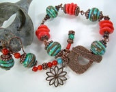 Guava Jam - Lampwork Coral and Copper Bracelet Set