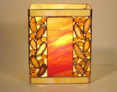 Golden Lamp Stained Glass with Agate Geodes Handmade OOAK