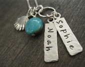 Personalized Hand Stamped Sterling Silver Necklace Beach Babies