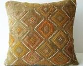 Sukan / Hand Woven - Turkish Kilim Pillow Cover - 16x16