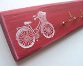 key rack, cherry wood with cute bike