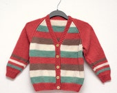 Hand Knit Pink, Green & Cream Striped Child Cardigan Sweater - Size 6 yrs