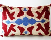 Sukan / SALE - Soft Hand Woven - Silk Velvet Ikat Pillow Cover - 14x22 inch - Red Beige Blue