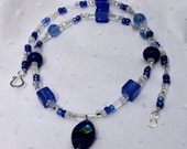 Blue Lamp Work and Crystal Glass Bead Necklace-  OOAK