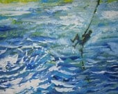 rope swing original painting 'Jumping In' texture palette knife 18x24 inch LAS