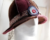 Edwardian Hat in Mauve and Brown