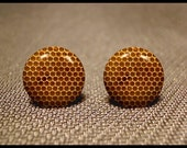 Queen  Bee Hive Honeycomb Resin Art Stud Earrings