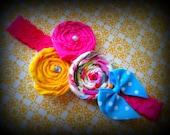 Прокат Трио Розетка Ткань на розовой эластичного кружева головная повязка