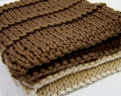 Cotton Spa Face Cloths Washcloths in Cafe Au Lait and Ecru