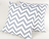 Gray and White Chevron Stripe Pillow Covers Set of Two 18""