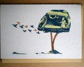 Blue Tree With Birds: Art Print Greetings Card