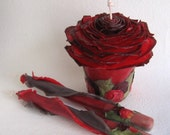 Rose Garden Wedding Candles, Unity Set - Pillar, Tapers, Red & Black - Pure Beeswax, Rose Petals, Leaves - Unique Candles by Marcie Forest