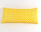 "Yellow and White Circles Pillow 8"" x 17"""