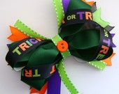 Trick or Treat Halloween Boutique Bow - Purple, Green, Orange, Black
