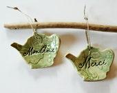 Ceramic Ornaments Set of Two Colorful Hanging Paris Talk Teapots