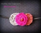 Chabby Chic коллекция тканей розеткой цветов на тощих эластичный головной ремень