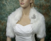 Ivory faux fur bolero jacket shrug Wrap FB005-Ivory