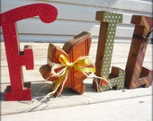 Fall wood rustic primitive glittery letter set with maple leaf