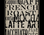 Subway Art Sign Coffee Typography  Print 11x17