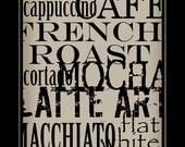 Subway Art Sign Coffee Typography  Print 11x17