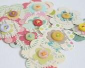 Прикосновение Винтаж водорослей Бумага - бумаги ручной работы и кнопка цветы, набор из 9 - № 2