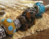 "Long-haired Dachshund Black and Golden Tan ""Little Toes"" Polymer Clay Pandora Dog Bead - Charm"