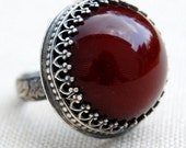 Burgundy - Vintage Lucite and Sterling Silver Ring - Your Size