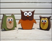 Fall woodland owls trio