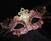 Pink and Gold Metallic Capri Masquerade Mask