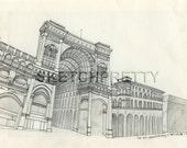 Milan Galleria Vittorio Emanuele II Ink Sketch
